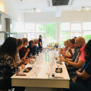 A group of guests sample wine and dessert pairings at our last tasting event