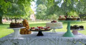 A selection of cakes at a garden party